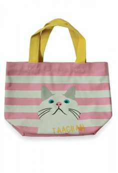 Japanese Style Cat On Polka Dot Canvas Lunch Tote Bag