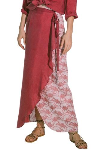 Akosée red Virtue Wrap Skirt 2BD15AAC03D987GS_1