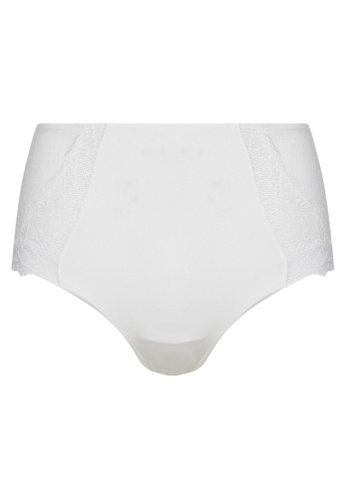 Women'Secret white High-waisted maximum support lace and tulle panties 065DCUS811CB27GS_1
