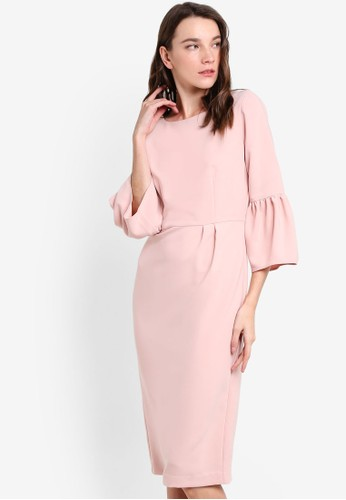簡約喇esprit taiwan叭長袖連身裙, 服飾, 洋裝