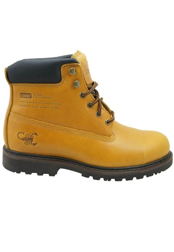 midzone yellow Genuine Leather Steel Toe Safety Boots MI949SH07WJSMY_1