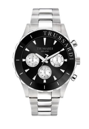 Trussardi 銀色 Trussardi T-Logo 銀色鋼帶男仕腕錶 R2453143004 26789AC80F6BCBGS_1