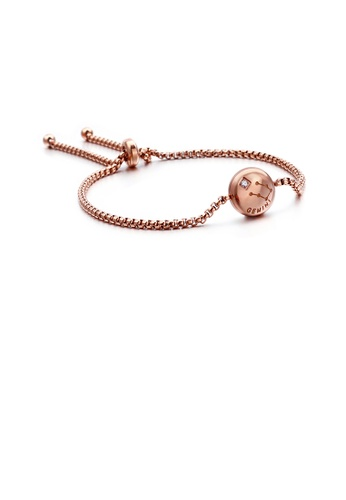 Glamorousky white Simple and Fashion Plated Rose Gold Twelve Constellation Gemini Round 316L Stainless Steel Bracelet with Cubic Zirconia BF710ACDFE2653GS_1