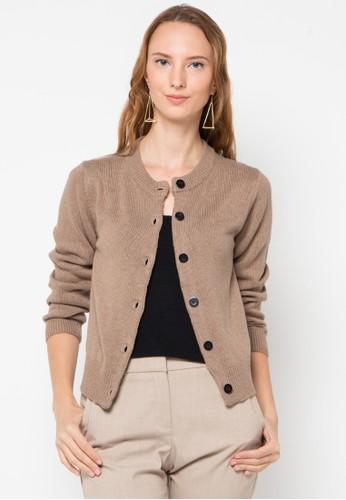 Noir Sur Blanc brown Ladies Cardigan W/Button NO321AA06SZDID_1