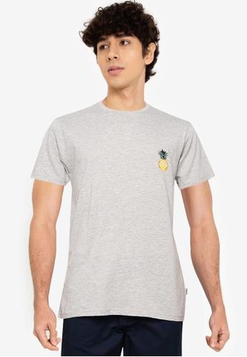 !Solid grey Mini Print T-Shirt 83283AAF268372GS_1