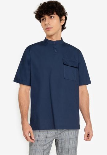 ZALORA BASICS navy Patch Pocket Half Placket Shirt D7E4DAA42548D9GS_1