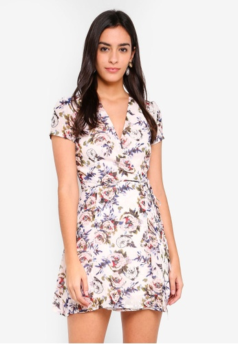 MDSCollections pink Tie Wrapped Dress In Blush Floral 3D811AA14909AEGS_1