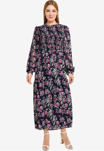 Dorothy Perkins navy Floral Sheered Midi Dress B7F02AA3291218GS_1