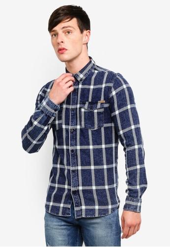 Only & Sons blue Otis Indigo Checkered Shirt F8698AAE83EF2CGS_1