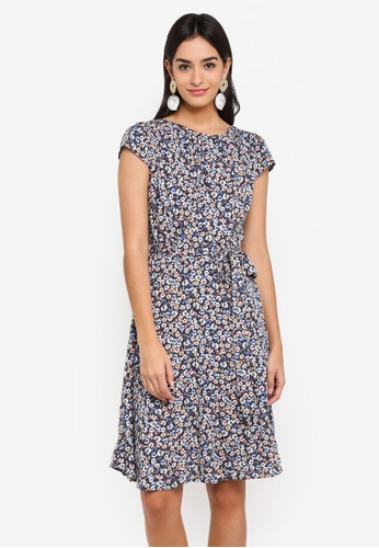 Dorothy Perkins blue and multi and navy Navy Soft Belt Viscose Dress 8B30CAA6690FD9GS_1
