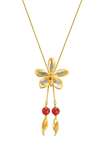 RISIS multi RISIS 24K Gold and Rhodium Plated  Natural Aeridovanda Vieng Ping Orchid Slider /w Red Agate 4F634ACA01AF0FGS_1