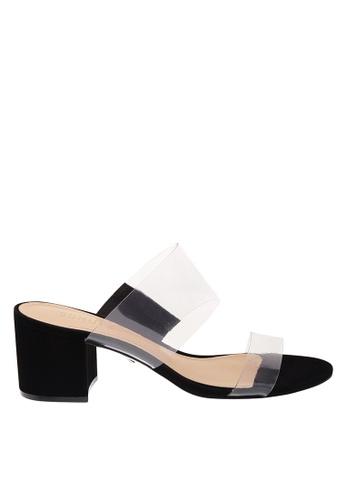 SCHUTZ black PVC Transparent Black Block Heel Sandals - VICTORIE [BLACK] 0A30ESH600ABE6GS_1