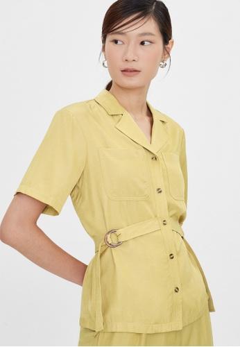 Pomelo yellow Double Buckle Short Sleeves Blazer - Yellow EA2D5AAE2FA80BGS_1