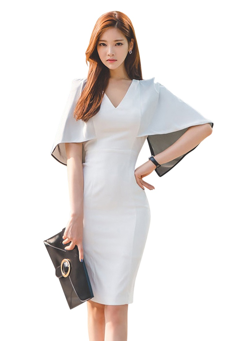 Work Polyester White S S Dress Elegant Choice Sunnydaysweety Lady UA040315 white 2017 ATw0xYY
