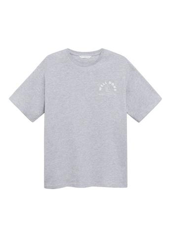 MANGO KIDS grey Message Cotton T-Shirt 52FB2KA71A8B22GS_1