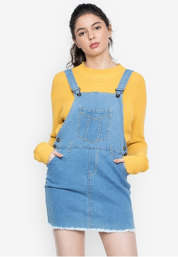 Ninety Nine Point Nine Boutiq blue Classic Frayed Denim Overall Dress Skirt 0C306AA1B86B40GS_1