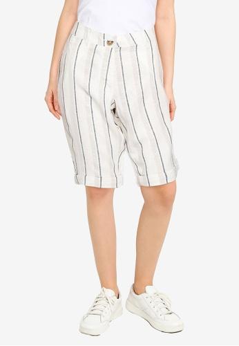 Dorothy Perkins blue Stripe Print Linen Blend Knee Shorts 0A12CAADDAE4DCGS_1