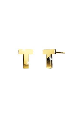 Bullion Gold gold BULLION GOLD Dainty Alphabet Letter Earring Gold Layered Steel Jewellery - T B4375AC3ABF954GS_1