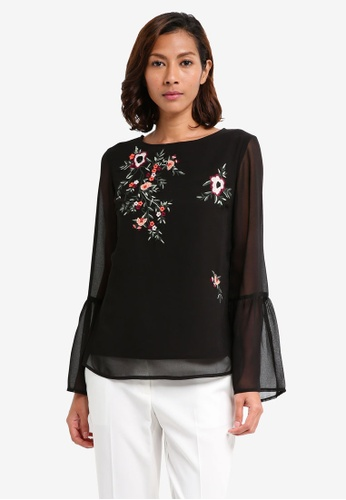 Dorothy Perkins black Embroidered Floral Top 6873BAAD7D316EGS_1