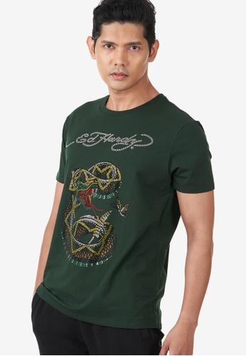 "Ed Hardy green Ed Hardy Men's ""King Of Snake"" Full Rhinestone Round Neck Tee DA0FEAA47B3545GS_1"