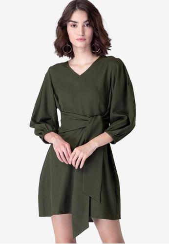 FabAlley green Olive Waist Tie Up Shift Dress B9A11AA5650951GS_1