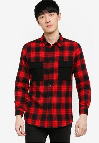 ZALORA BASICS 多色 Contrast Check Pocket Detail Shirt 23673AACFF6226GS_1