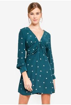 e2e1cdad93b4 TOPSHOP green Petite Spot Ruched Mini Dress 20D60AA4144664GS 1