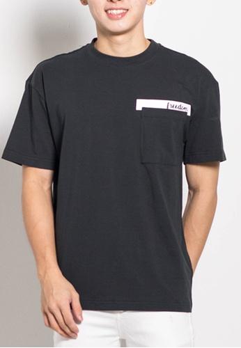 SUB black Men Oversized Fashion Tee With Pocket 76136AA9827B85GS_1