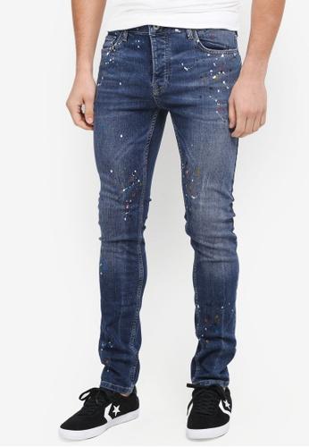 Topman blue Paint Splatter Skinny Jeans 786A3AA51AC813GS_1