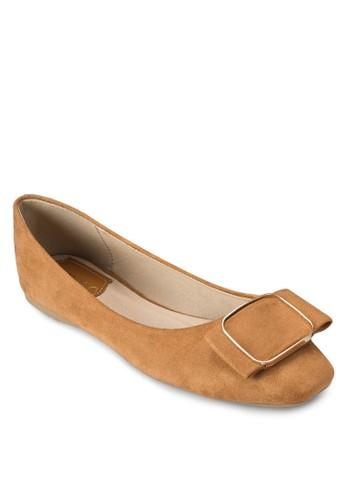方形蝴蝶結麂esprit高雄門市皮平底鞋, 女鞋, 芭蕾平底鞋