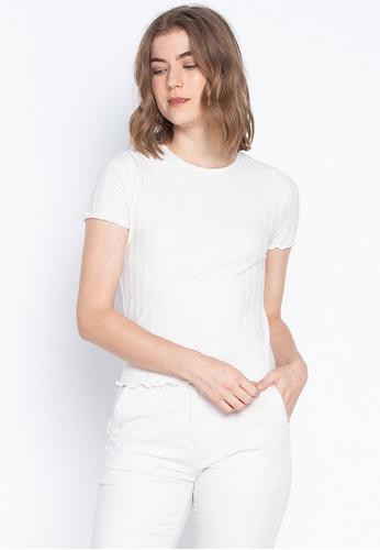 8970863c67506 DEBENHAMS white Red Herring - Cream Raised Rib Scallop Trim T-shirt  8DD40AAA5A921CGS_1