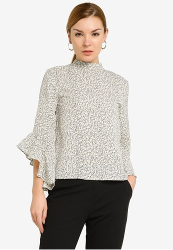 ZALORA WORK white Ruffle Sleeve Blouse 563A0AA6BDD3B4GS_1