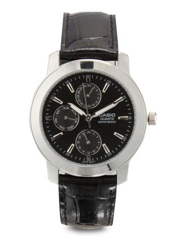 MTP-1192E-1ADF 副錶盤皮革圓錶, 錶類esprit hk store, 飾品配件