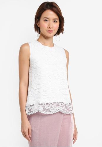 ZALORA white Lace Top 8F1D0AAE2D7170GS_1