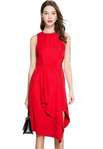 Sunnydaysweety red Red Sleeveless Ruffled Irregular One Piece Dress A21032311/CA052105 0BC71AA0245EEBGS_1