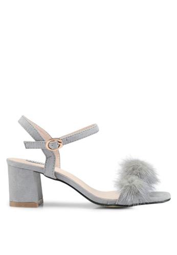 Mimosa 灰色 絨毛一字帶粗跟鞋 EF541SHC001EE7GS_1