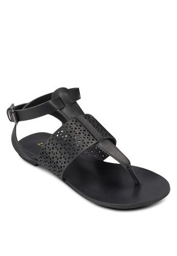 沖孔帶夾esprit retail腳繞踝平底涼鞋, 女鞋, 鞋