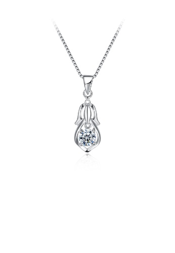Glamorousky white 925 Sterling Silver Simple Elegant Fashion Beautiful Girl Pendant Necklace with Cubic Zircon 6BEFDACA64AF2EGS_1