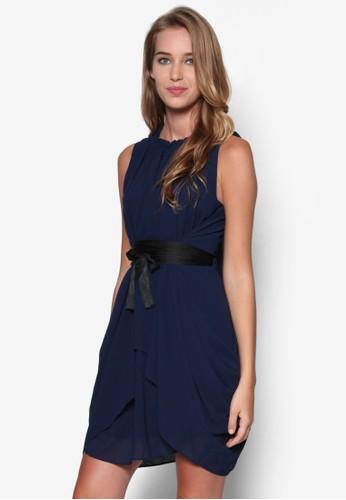不對稱esprit outlet 桃園裙擺繫帶連身裙, 服飾, 洋裝