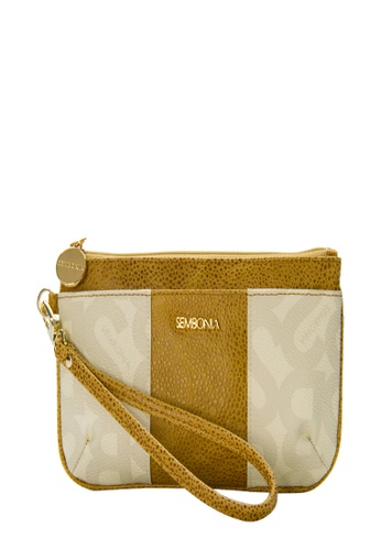 SEMBONIA beige SEMBONIA Coated Canvas Trimmed Leather Wristlet (Beige) 812EFACECFD7FBGS_1