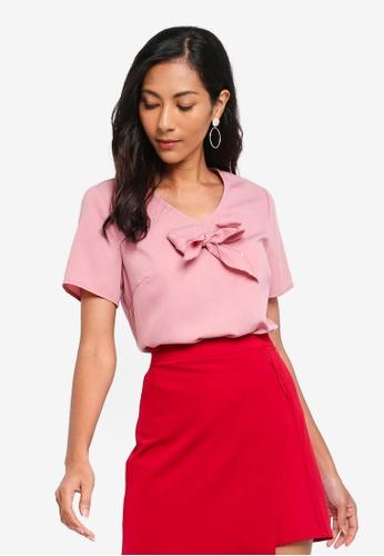 ZALORA BASICS pink Basic Tie Front Blouse 137E4AA10FD2AEGS_1