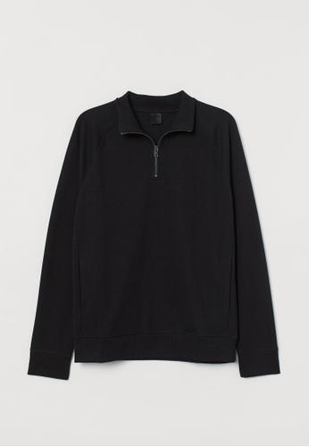 H&M black Stand-up collar top 1BA0CAAB9F610DGS_1