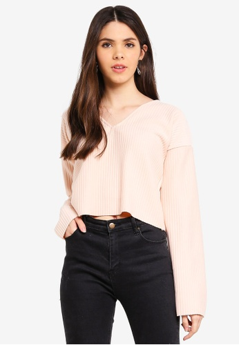 MISSGUIDED 米褐色 Boxy 短版Sweatshirt 4D240AA26E9CE1GS_1