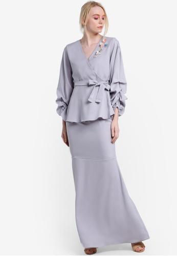 Lubna grey Beaded Puff Sleeve Kurung LU723AA05ZZAMY_1