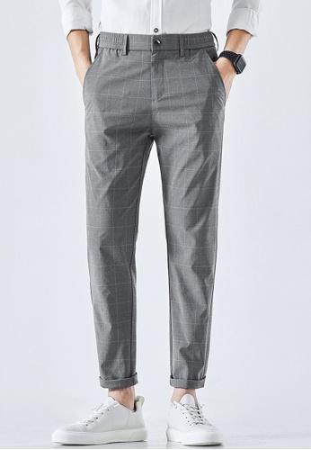 Trendyshop grey Checked Slim Suit Pants 6360EAAD7D3466GS_1