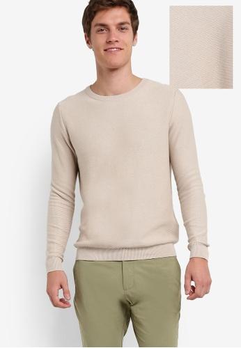ZALORA beige Crew Neck Textured Knit Sweatshirt EEA22AAD90BE0BGS_1