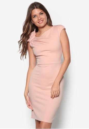 素色褶飾連身裙,esprit台北門市 服飾, 洋裝