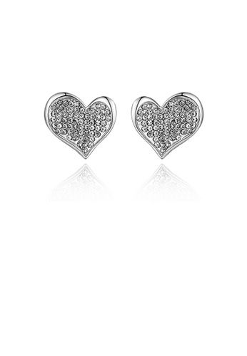 Glamorousky white Sweet Bright Heart Stud Earrings with Austrian Element Crystal 0FE8DAC9FC7F5AGS_1