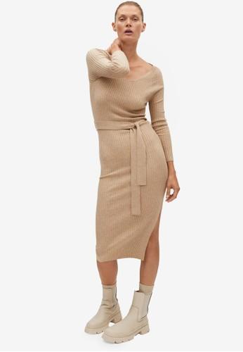 Mango grey Ribbed Jersey Dress 261A6AA9754F32GS_1