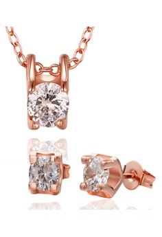 Roxanne Diamond Rose Gold Necklace and Earrings Set